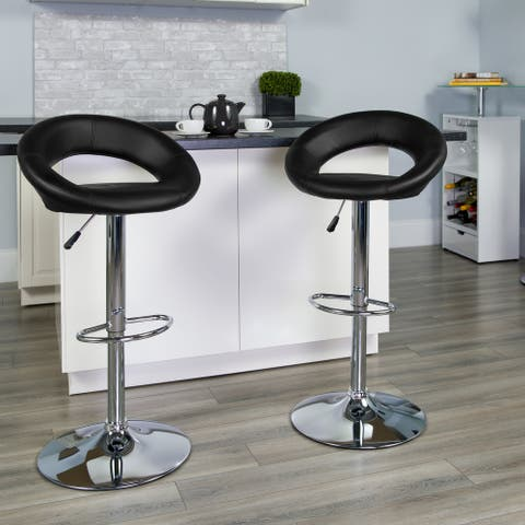"""2 Pack Contemporary Vinyl Rounded Orbit-Style Back Adjustable Height Barstool - 21.5""""W x 21.5""""D x 32"""" - 40.75""""H"""
