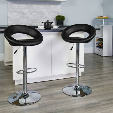 """Contemporary Vinyl Rounded Orbit-Style Back Adjustable Height Barstool - 32 - 40.75""""H"""