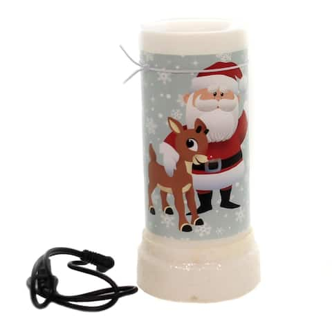 """7"""" Rudolph The Red Nose Reindeer USB Christmas Projector Candle"""