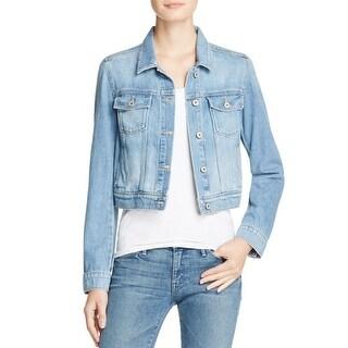 Paige Womens Vivienne Denim Jacket Faded Cropped