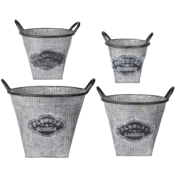 """Set of 4 Silver and Black Garden Style Flowers Oval Planters 13"""" - N/A"""