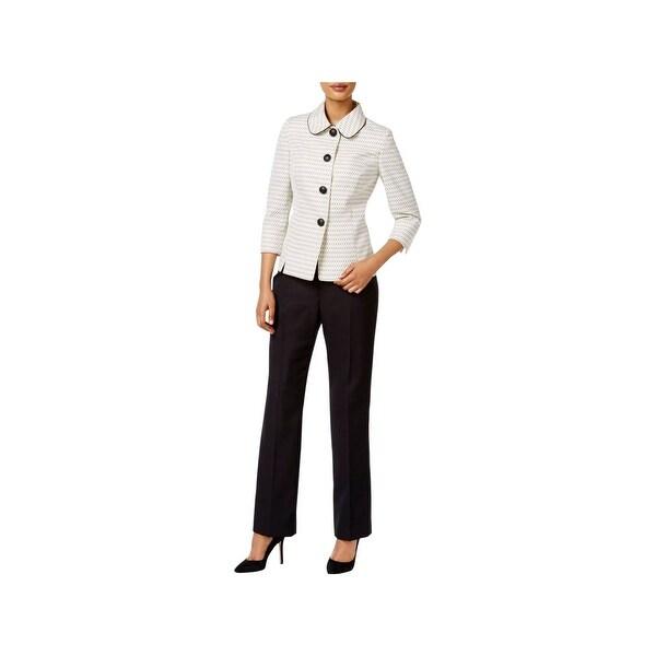 Le Suit Womens Pant Suit Tweed 2 Pieces - 8