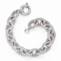 Italian Sterling Silver Polished Textured Link Bracelet - 8 inches