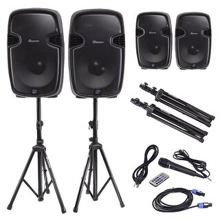 Costway Dual 12'' 2-way 2000W Powered Speakers w/ Bluetooth + Mic + Speaker Stands + Control + Cables - black