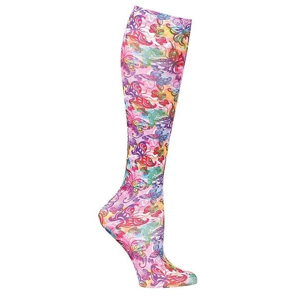 Celeste Stein Moderate Compression Knee High Stockings Wide Calf- Butterflies - Medium