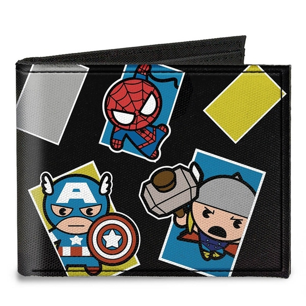 Kawaii Avengers Action Poses Black Multi Color Canvas Bi Fold Wallet One Size - One Size Fits most