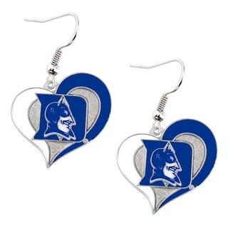 Duke Blue Devils Swirl Heart Dangle Logo Earring Set Charm Gift NCAA