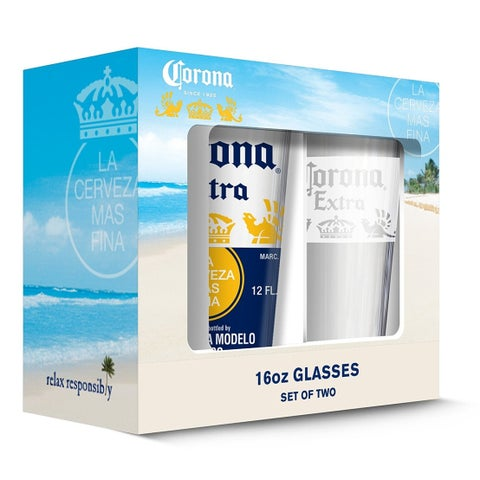 Corona 190443001433 Crown & White Band Pub Glass - Set of 2
