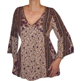 Funfash Plus Size Clothing Bohemian Brown Lace Bell Sleeves Top Shirt New Made in USA