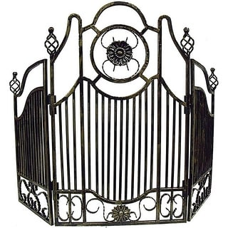 "Primo Lanterns PRMFIREGG 46"" Wrought Iron Fire Screen in Weathered Gold Finish"