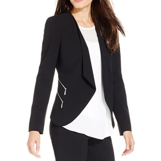 Vince Camuto Womens Open-Front Blazer Zipper Pocket Crepe