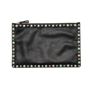 Valentino Womens Rolling Large Turquoise Rockstud Noir Pouch Black Clutch