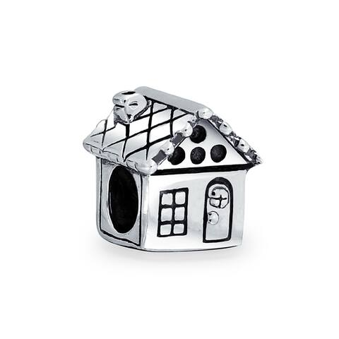 Sweet Home Family House New Home Owner Charm Bead Sterling Silver
