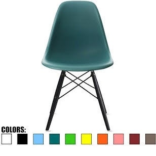 2xhome Teal - Eames Style Bedroom & Dining Room Side Ray Chair with Eiffel Dark Wood Dowel Legs