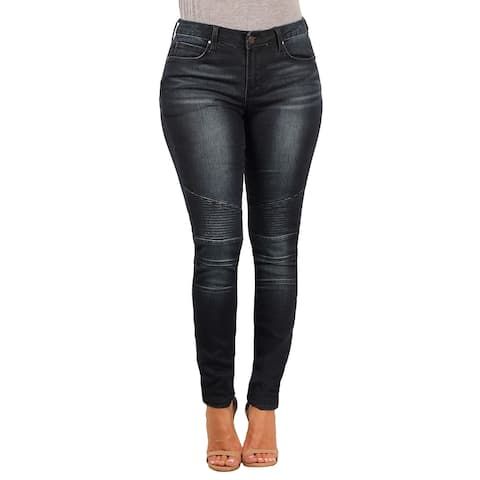 V19.69 Italia Ladies Contemporary Skinny-Stretch Moto Jean