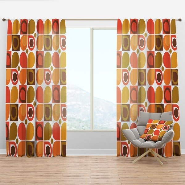 Designart 'Abstract Retro Geometric Pattern VI' Mid-Century Modern Curtain Panel. Opens flyout.
