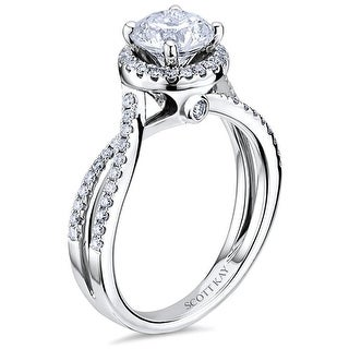 14kt White Gold Ladies 0.32CT Semi Mount with Halo & Pave Twist Shank from the Luminaire Collection by Scott Kay