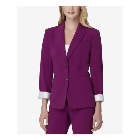 TAHARI Womens Purple Suit Wear to Work Jacket Size 6