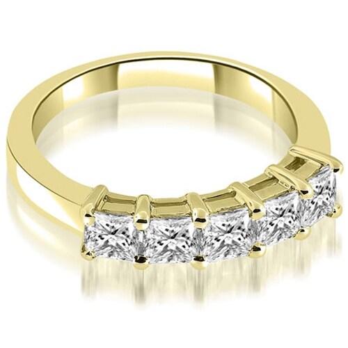 0.85 cttw. 14K Yellow Gold Prong Set Princess Cut Diamond Wedding Band