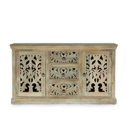 """Horeb Boho Handcrafted Mango Wood 3 Drawer Sideboard by Christopher Knight Home - 60.00"""" L x 16.00"""" W x 34.00"""" H"""