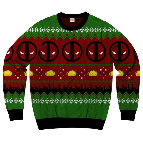 marvel comics deadpool navidad 2 mens ugly christmas sweater