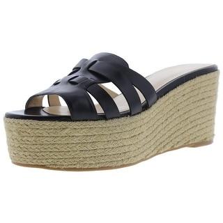 Nine West Womens Eleena Wedge Sandals Leather Espadrille