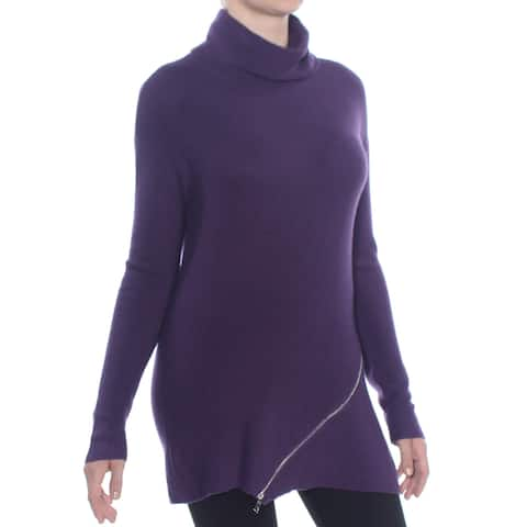 BAR III Womens Purple Zippered Long Sleeve Sweater Size: XS