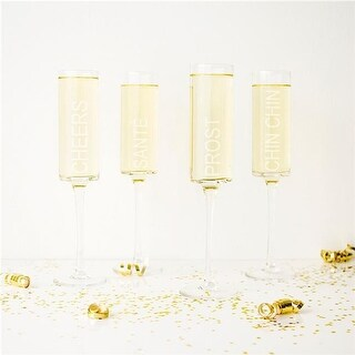 Cathys Concepts Cheers Contemporary Toasting Flutes - Set of 4