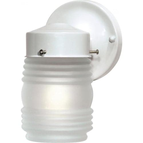 "Nuvo Lighting 76/702 Single Light 6"" Mason Jar Porch Light with Frosted Glass Shade"