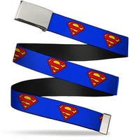 Blank Chrome Buckle Superman Shield Blue Webbing Web Belt