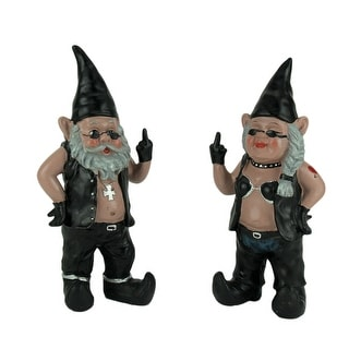Gnoschitt & Gnofun the Naughty Biker Gnomes Statue Motorcycle Leather 13 Inch - 12.5 X 5.5 X 3.5 inches