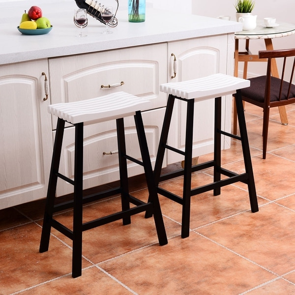 Shop Costway Set Of 2 Saddle Seat 29'' Bar Stools Wood