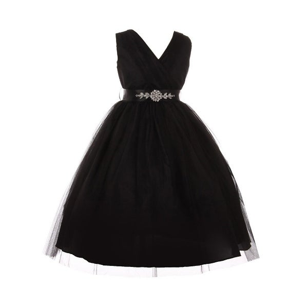 f277f02f8a52c0 Shop Girls Black Rhinestone Satin Sash V-Neck Tulle Junior Bridesmaid Dress  - Free Shipping Today - Overstock - 23078768