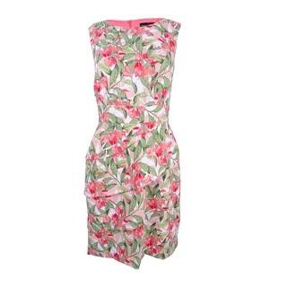 Connected Women's Petite Floral-Print Sheath Dress - Melon
