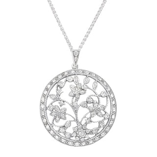Van Kempen Art Nouveau Medallion Pendant with Swarovski Crystals in Sterling Silver - White