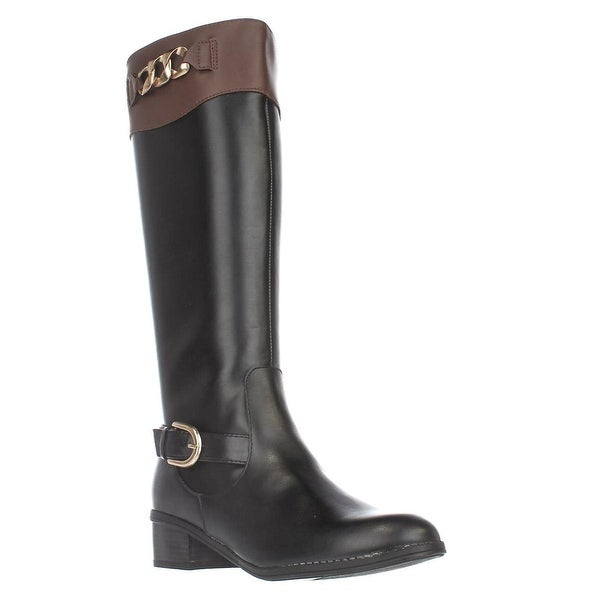 KS35 Darlaa Knee-High Boots, Black/Cognac