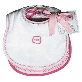 Raindrops Baby Girls Pastel Teething Bib Set, White/Pink - One size