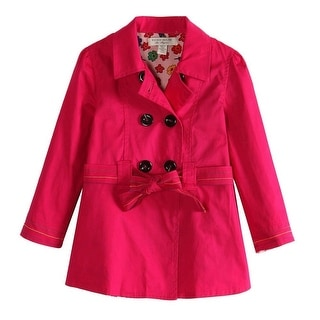 Richie House Girls Pink Colored Floral Lining Fabric Trench Coat 6-10