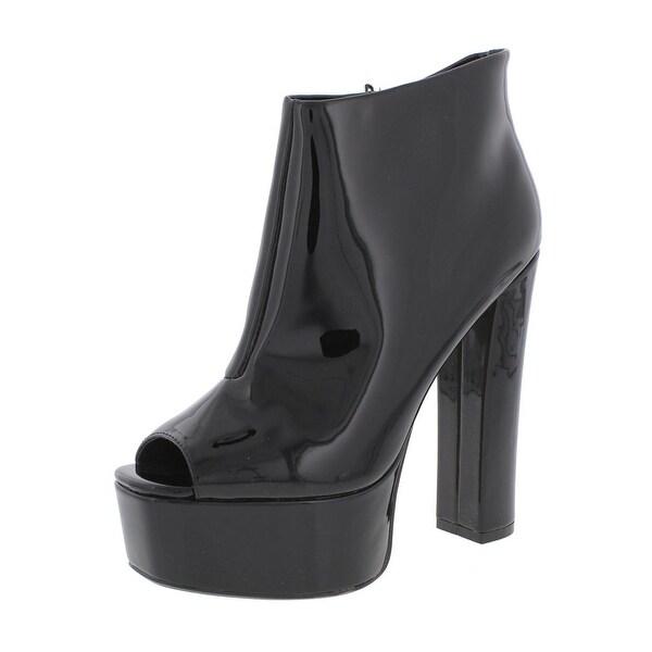 Steve Madden Womens Rhian Platform Boots Patent Open Toe