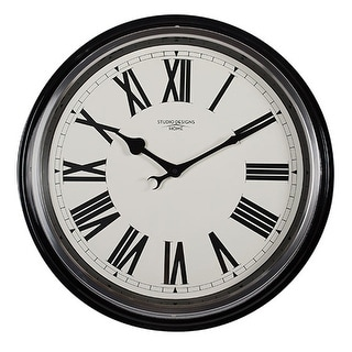 """Offex Home 19"""" Traditional Metal Roman Numeral Wall Clock in Black"""