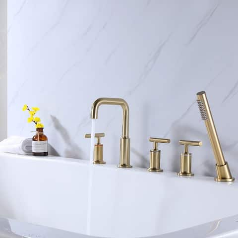Desk Mount 5 Holes Bathtub Faucet with Handheld Shower, Gold
