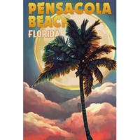 Pensacola Beach, FL - Palm & Moon - LP Artwork (100% Cotton Towel Absorbent)