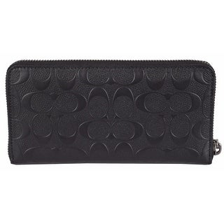 NEW Coach Men's Black F75372 Signature Embossed Zip Around Accordion Wallet