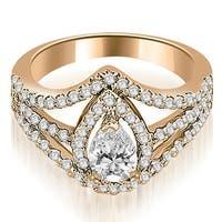 1.15 cttw. 14K Rose Gold Halo Pear Cut Diamond Engagement Diamond Ring
