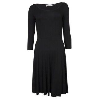 Calvin Klein Women's Scoop Neck 3/4 Sleeves Dress