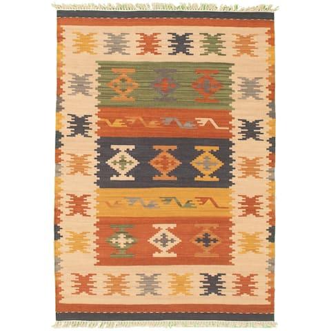 ECARPETGALLERY Flat-weave Anatolian FW Burnt Orange, Blue Wool Kilim - 4'0 x 6'0