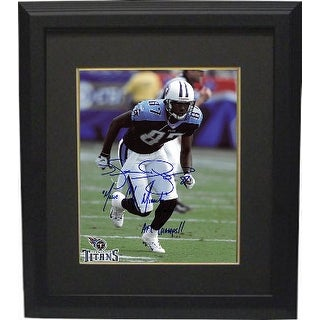 Kevin Dyson signed Tennessee Titans Action 8x10 Photo Custom Framed w/ triple Music City Miracle, 01/08/00 & AFC Champs!!