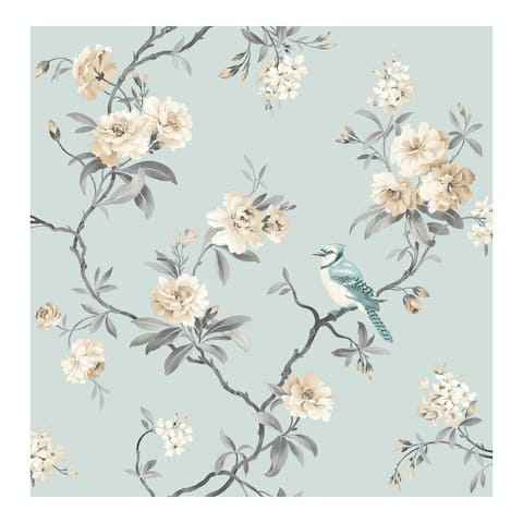 Chinoiserie Blue Floral Wallpaper - 20.5 x 396 x 0.025