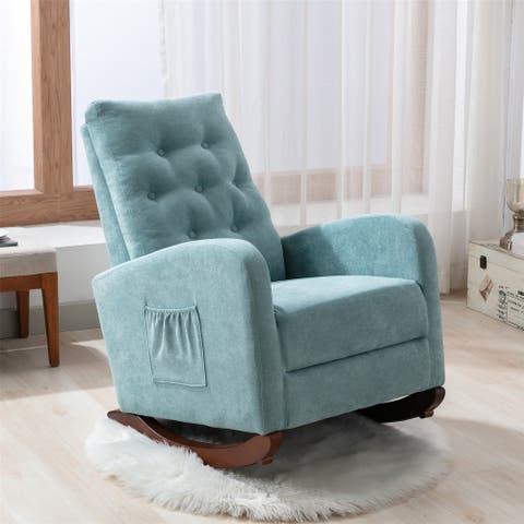 Living Room Rocking Chair, Comfortable Rocker Fabric Padded Seat ,Modern High Back Armchair