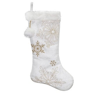 "Link to 20"" White with Gold Snowflakes Christmas Stocking with Cuff Similar Items in Christmas Decorations"